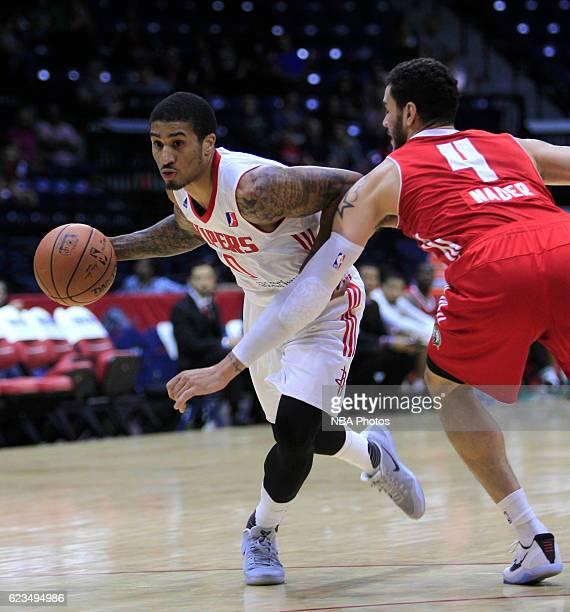 Gary Payton II of the Rio Grande Valley Vipers pushes to the net on Abdel Nader of the Maine Red Claws at the State Farm Arena November 15 2016 in...