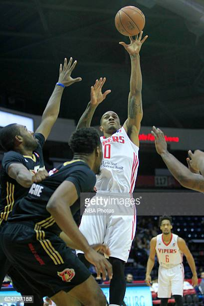 Gary Payton II of the Rio Grande Valley Vipers shoot the ball against the Erie BayHawks at the State Farm Arena November 20 2016 in Hidalgo Texas...