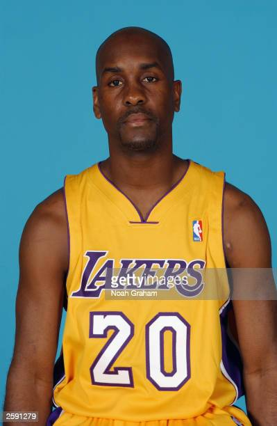 Gary Payton of the Los Angeles Lakers poses for a portrait during NBA Media Day at the Lakers Practice Facility on October 10 2003 in El Segundo...