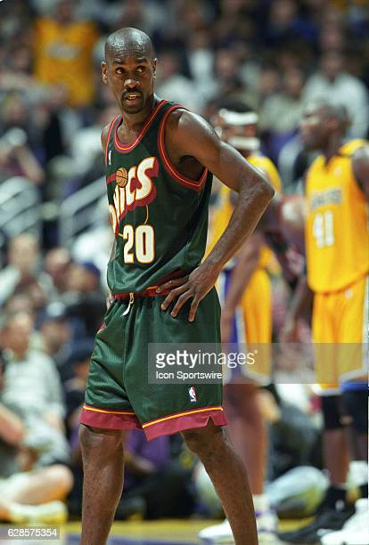 Gary Payton of the Seattle Supersonics with his hands on his hips during a National Basketball Association game against the Los Angeles Lakers at the...