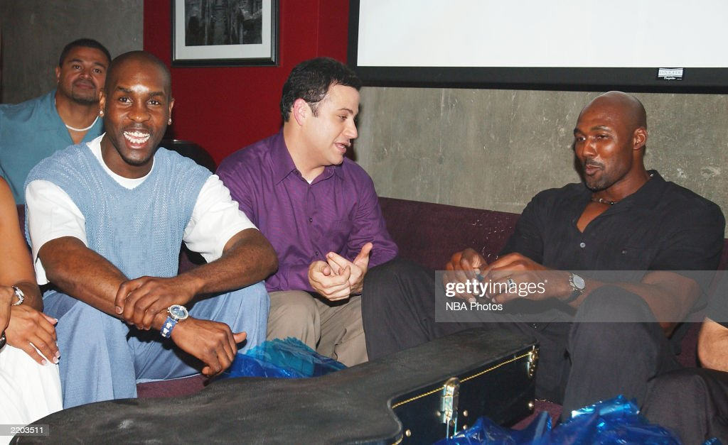 Gary Payton, talk show host Jimmy Kimmell and Karl Malone laugh at a party held for Gary Payton and Karl Malone celebrating both Los Angeles Lakers players' birthdays at the Lucky Strike on July 24, 2003 in Los Angeles, California.