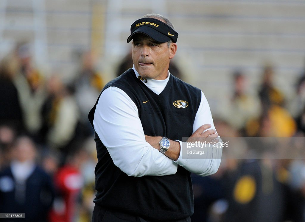 <a gi-track='captionPersonalityLinkClicked' href=/galleries/search?phrase=Gary+Pinkel&family=editorial&specificpeople=2109950 ng-click='$event.stopPropagation()'>Gary Pinkel</a> head coach of the Missouri Tigers watches his team warms up prior to a game against the Florida Gators at Memorial Stadium on October 10, 2015 in Columbia, Missouri.