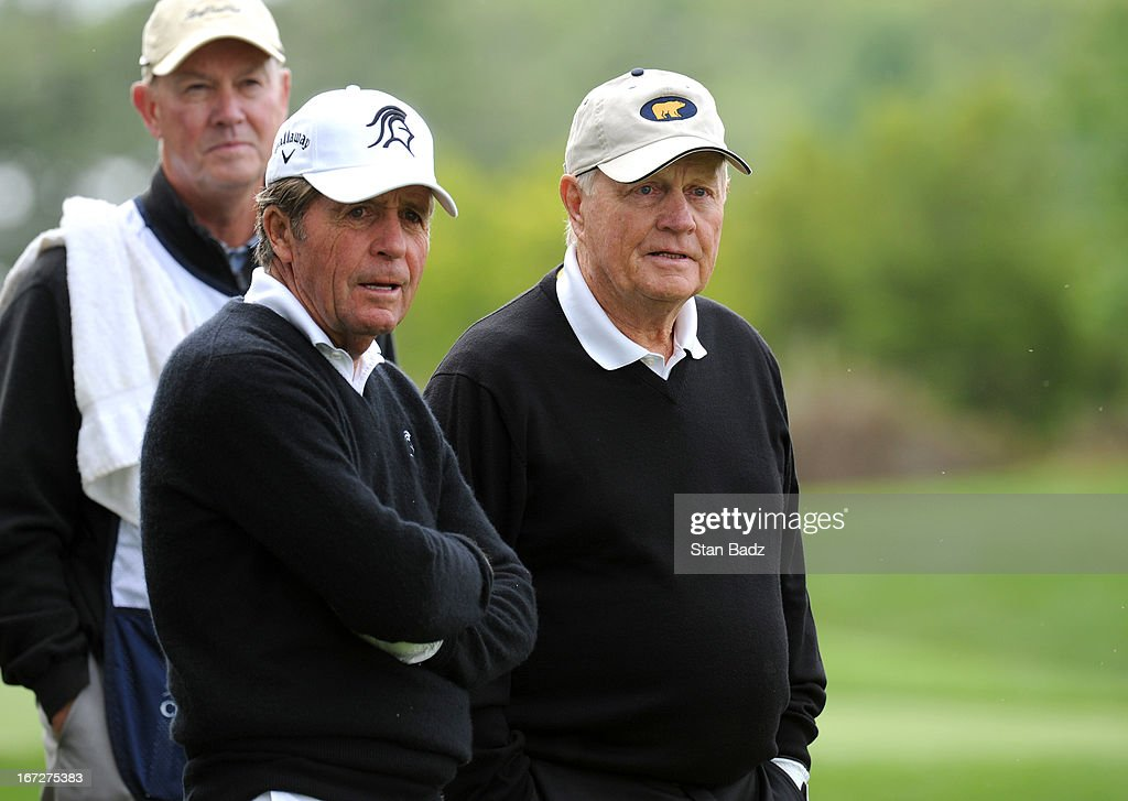 Gary Player and Jack Nicklaus watch play on the fourth hole during the final round of the Demaret Division at the Liberty Mutual Insurance Legends of Golf at The Westin Savannah Harbor Golf Resort & Spa on April 23, 2013 in Savannah, Georgia.