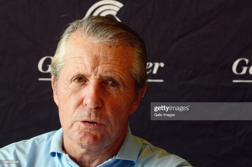 Gary Player attends an interview session during the Gary Player Invitational presented by Coca-Cola at The Lost City Golf Course on November 15, 2013 in Sun City, South Africa.