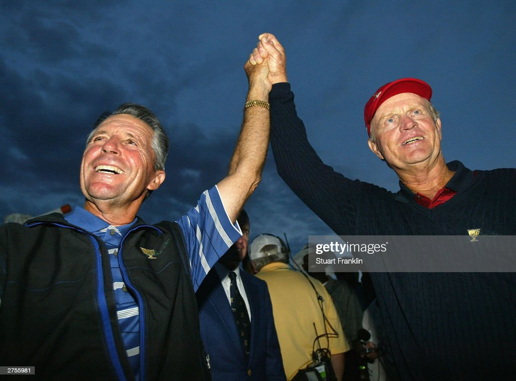 Gary Player Captain of The International team and Jack Nicklaus Captain of the USA team after they agree to share The Presidents Cup between USA and...