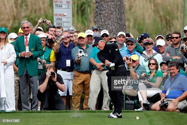 Gary Player hits a hole in one on the seventh hole during the Par 3 Contest prior to the start of the 2016 Masters Tournament at Augusta National...