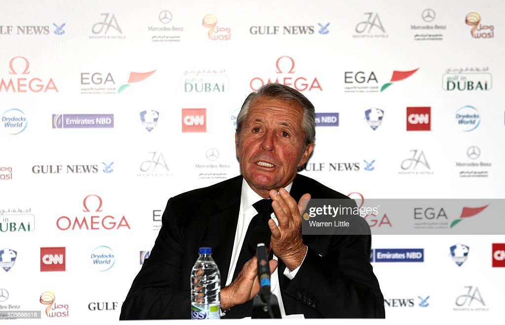 <a gi-track='captionPersonalityLinkClicked' href=/galleries/search?phrase=Gary+Player&family=editorial&specificpeople=203189 ng-click='$event.stopPropagation()'>Gary Player</a> of South Africa addresses the media, as he is named as host of the Nedbank Golf Challenge which will be the second leg of the European Tour's Final series pictured during the third round of the Omega Dubai Desert Classic on the Majlis Course at the Emirates Golf Club on February 6, 2016 in Dubai, United Arab Emirates.