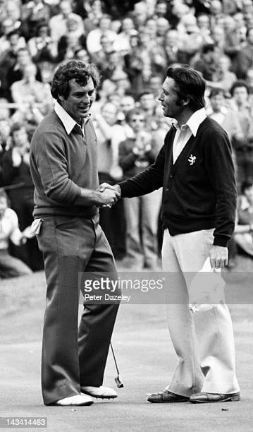 Gary Player of South Africa and Fuzzy Zoeller of the USA during the Suntory World Match Play Championship on the West Course at The Wentworth Club on...