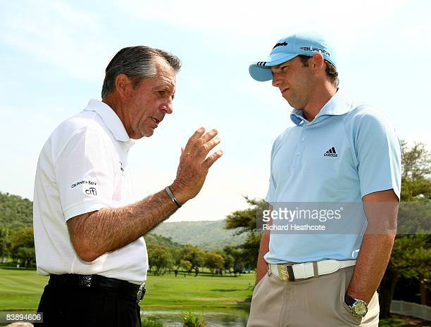 Gary Player of South Africa and Sergio Garcia of Spain talk about Seve during the proam for the Nedbank Golf Challenge at the Gary Player Country...