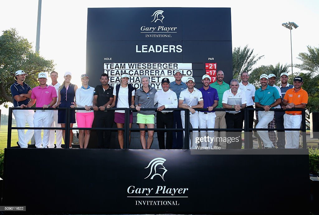 Gary Player of South Africa is joined by the professional competitors after the Gary Player Invitational Abu Dhabi at Saadiyat Beach Golf Club on February 8, 2016 in Abu Dhabi, United Arab Emirates.