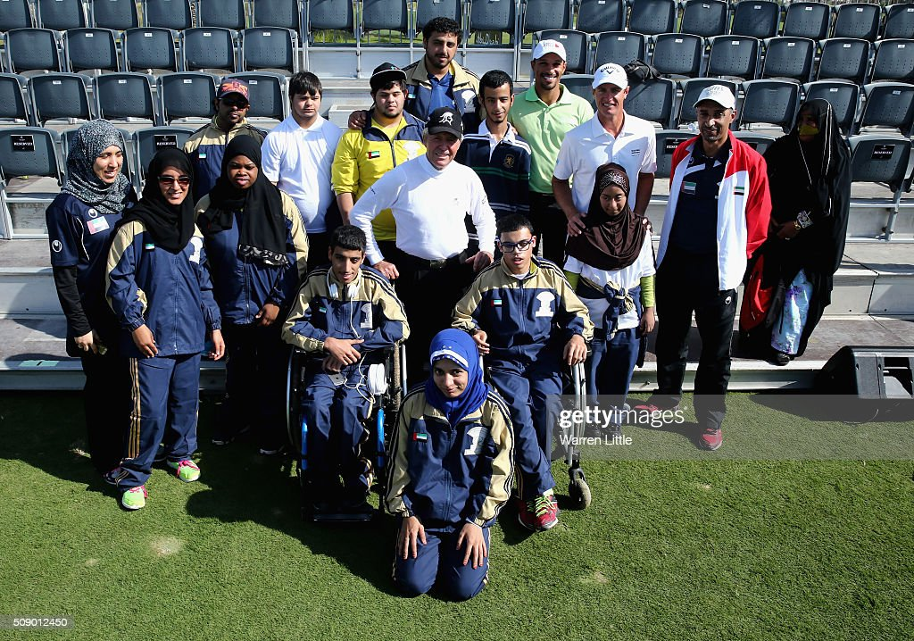 Gary Player of South Africa poses with youngsters from the Zayed Higher Organization and Rehabilitation Centre during a golf clinic ahead ofthe Gary Player Invitational Abu Dhabi at Saadiyat Beach Golf Club on February 8, 2016 in Abu Dhabi, United Arab Emirates.