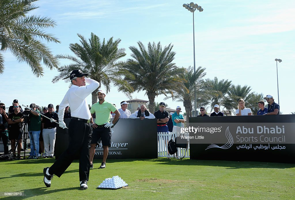 <a gi-track='captionPersonalityLinkClicked' href=/galleries/search?phrase=Gary+Player&family=editorial&specificpeople=203189 ng-click='$event.stopPropagation()'>Gary Player</a> of South Africa takes part in a golf clinic ahead of the <a gi-track='captionPersonalityLinkClicked' href=/galleries/search?phrase=Gary+Player&family=editorial&specificpeople=203189 ng-click='$event.stopPropagation()'>Gary Player</a> Invitational Abu Dhabi at Saadiyat Beach Golf Club on February 8, 2016 in Abu Dhabi, United Arab Emirates.