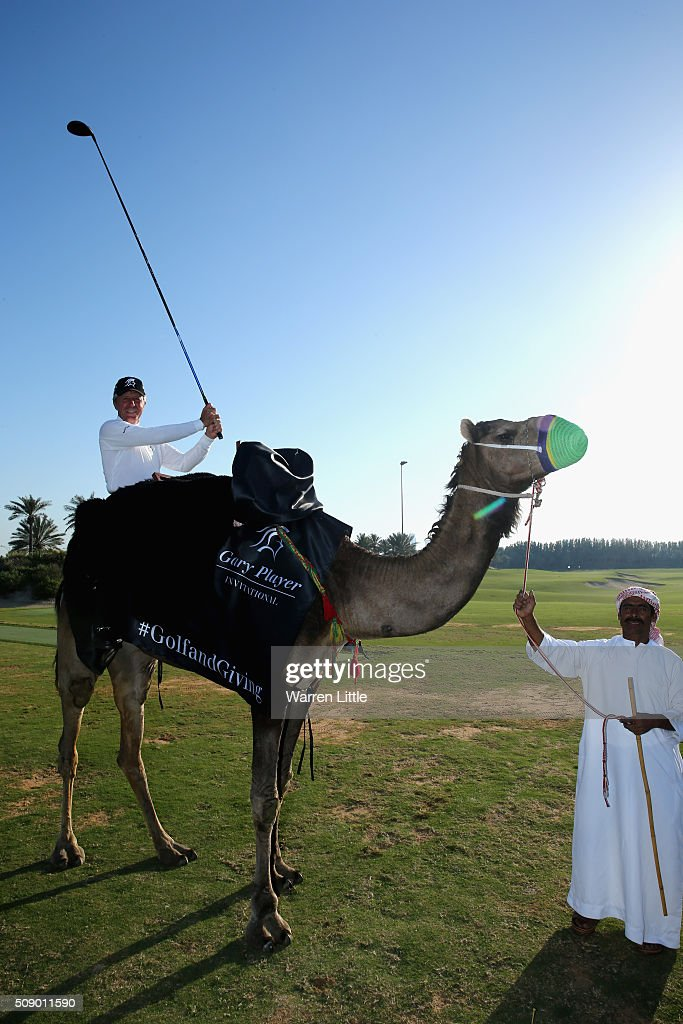 <a gi-track='captionPersonalityLinkClicked' href=/galleries/search?phrase=Gary+Player&family=editorial&specificpeople=203189 ng-click='$event.stopPropagation()'>Gary Player</a> of South Africa takes part in the worlds first camel golf after the <a gi-track='captionPersonalityLinkClicked' href=/galleries/search?phrase=Gary+Player&family=editorial&specificpeople=203189 ng-click='$event.stopPropagation()'>Gary Player</a> Invitational Abu Dhabi at Saadiyat Beach Golf Club on February 8, 2016 in Abu Dhabi, United Arab Emirates.