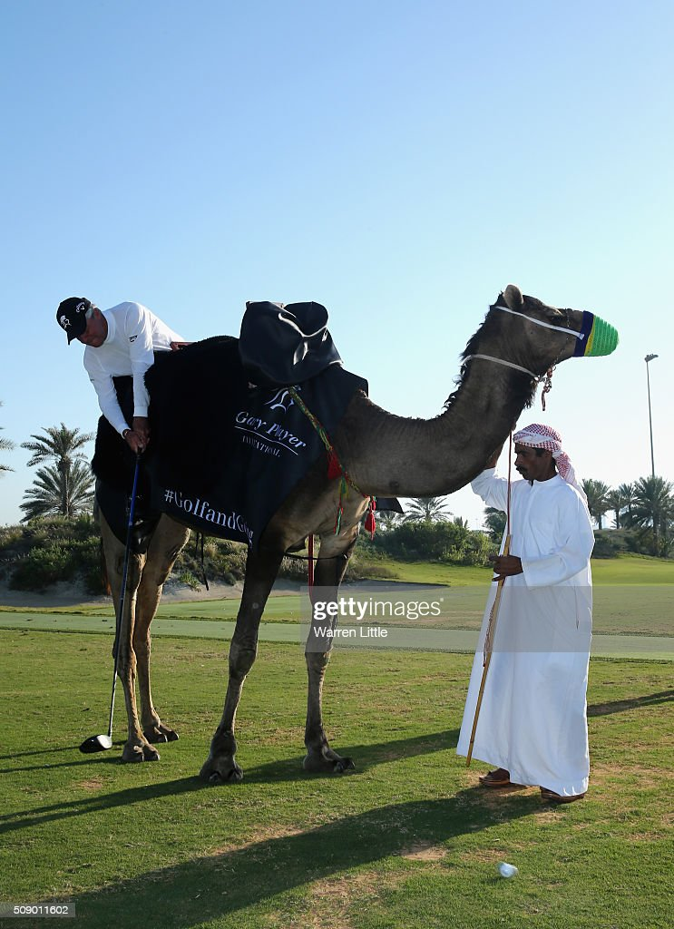 Gary Player of South Africa takes part in the worlds first camel golf after the Gary Player Invitational Abu Dhabi at Saadiyat Beach Golf Club on February 8, 2016 in Abu Dhabi, United Arab Emirates.