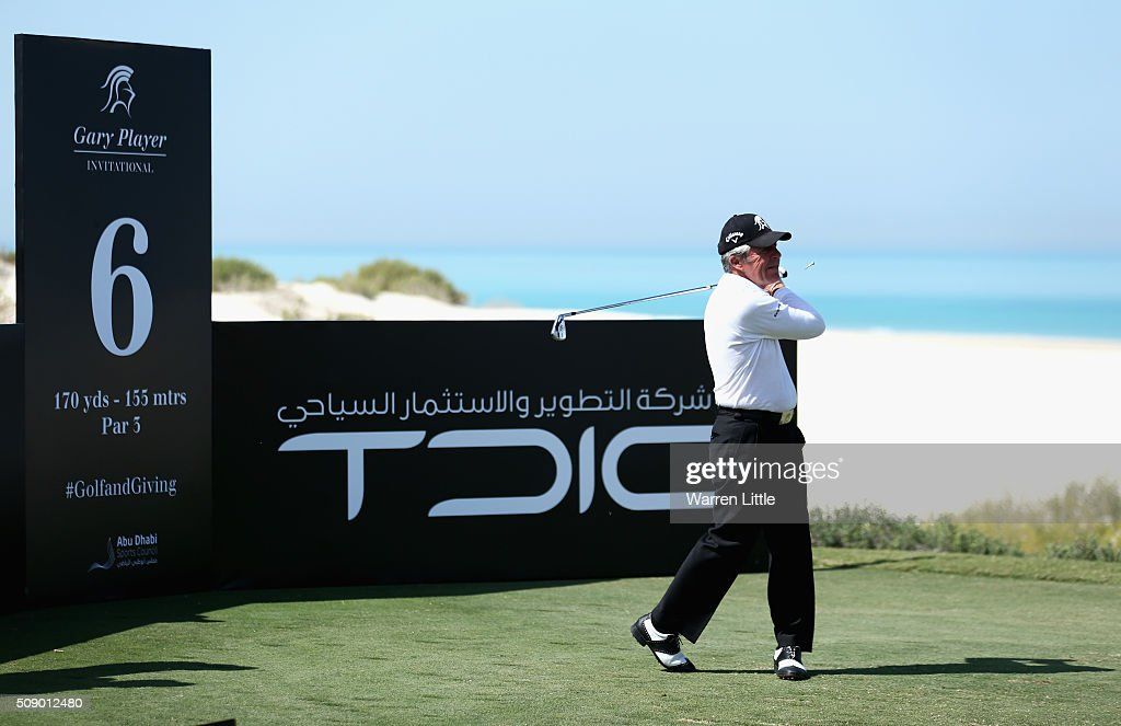 <a gi-track='captionPersonalityLinkClicked' href=/galleries/search?phrase=Gary+Player&family=editorial&specificpeople=203189 ng-click='$event.stopPropagation()'>Gary Player</a> of South Africa tees off on the 6th hole during the <a gi-track='captionPersonalityLinkClicked' href=/galleries/search?phrase=Gary+Player&family=editorial&specificpeople=203189 ng-click='$event.stopPropagation()'>Gary Player</a> Invitational Abu Dhabi at Saadiyat Beach Golf Club on February 8, 2016 in Abu Dhabi, United Arab Emirates.