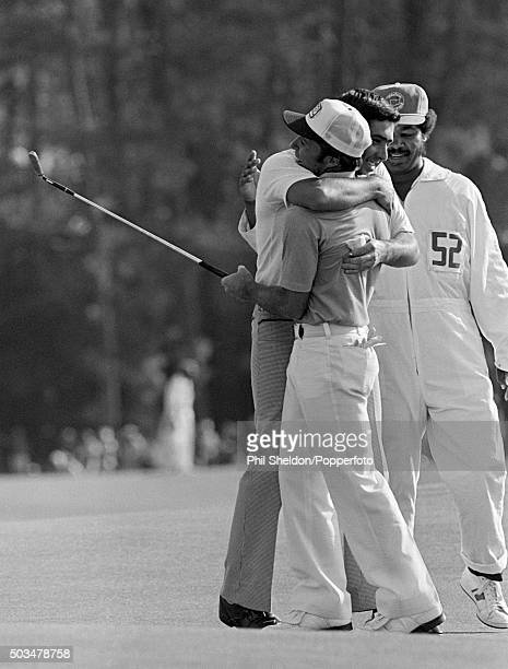 Gary Player of the South Africa is congratulated by Severiano Ballesteros of Spain as he wins the US Masters Golf Tournament held at the Augusta...