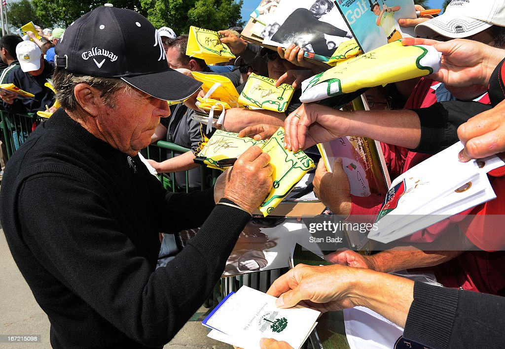 Gary Player signs autographs for fans after his first round of the Demaret Division at the Liberty Mutual Insurance Legends of Golf at The Westin Savannah Harbor Golf Resort & Spa on April 22, 2013 in Savannah, Georgia.