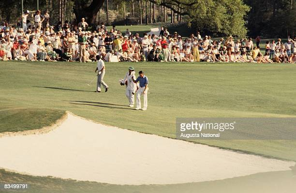 Gary Player walks up the fairway with Seve Ballesteros during the 1978 Masters Tournament at Augusta National Golf Club in April 1978 in Augusta...