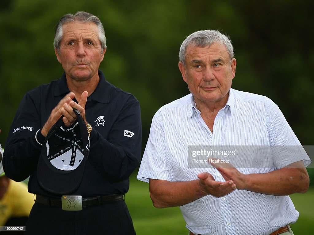 Gary Player with Sun City creator Sol Kerzner atthe prize presentation after the final round of the Nedbank Golf Challenge at the Gary Player Country...
