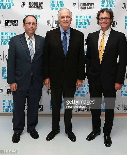 Gary Podell Actor Alan Alda and Jeff Pancer attend Iconic Characters Of Comedy Series 'MASH' at Museum of Moving Image on October 15 2013 in New York...