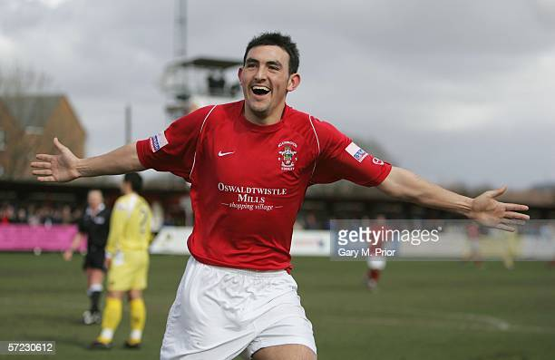 Gary Roberts of Accrington Stanley celebrates scoring the first goal during the Nationwide Conference match between Accrington Stanley and Grays...