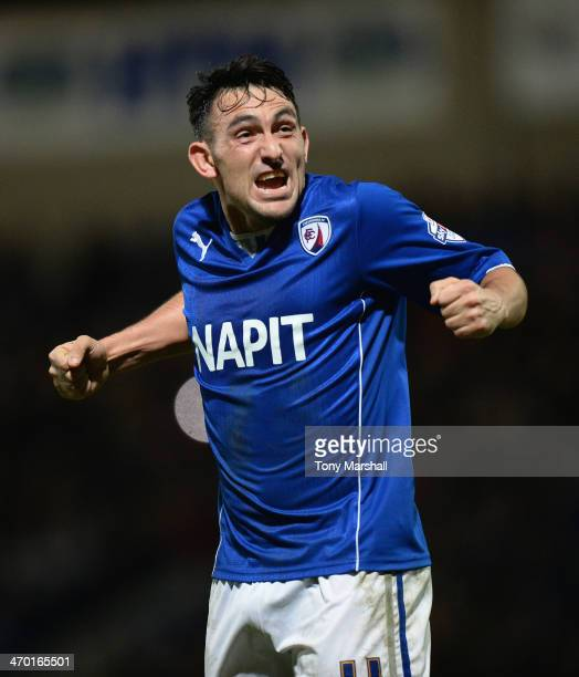 Gary Roberts of Chesterfield celebrates after reaching the final of the Johnstone's Paint Northern Area Final match at Proact Stadium on February 18...