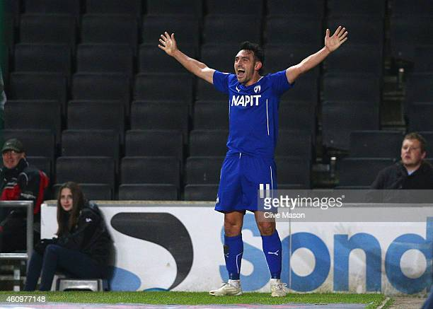 Gary Roberts of Chesterfield celebrates his goal during the FA Cup Second Round Replay match between MK Dons and Chesterfield at Stadium mk on...