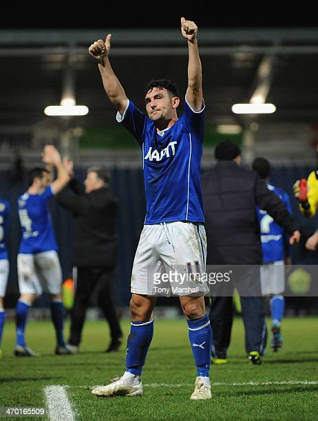 Gary Roberts of Chesterfield celebrates to the fans after reaching the final of the Johnstone's Paint Northern Area Final match at Proact Stadium on...