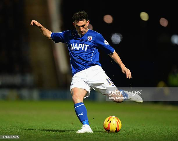 Gary Roberts of Chesterfield during the Johnstone's Paint Northern Area Final match at Proact Stadium on February 18 2014 in Chesterfield England
