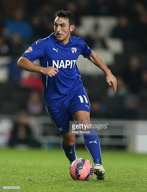 Gary Roberts of Chesterfield in action during the FA Cup Second Round match between MK Dons and Chesterfield at Stadium mk on December 6 2014 in...