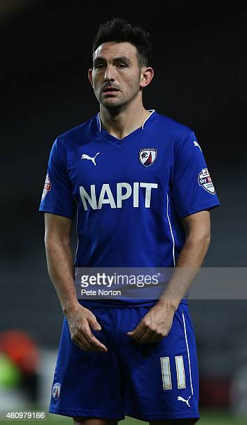 Gary Roberts of Chesterfield in action during the FA Cup Second Round match between MK Dons and Chesterfield at Stadium mk on January 2 2015 in...
