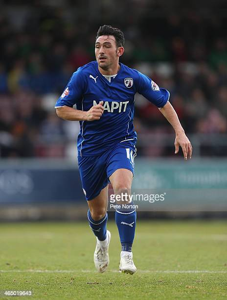 Gary Roberts of Chesterfield in action during the Sky Bet League Two match between Northampton Town and Chesterfield at Sixfields Stadium on January...
