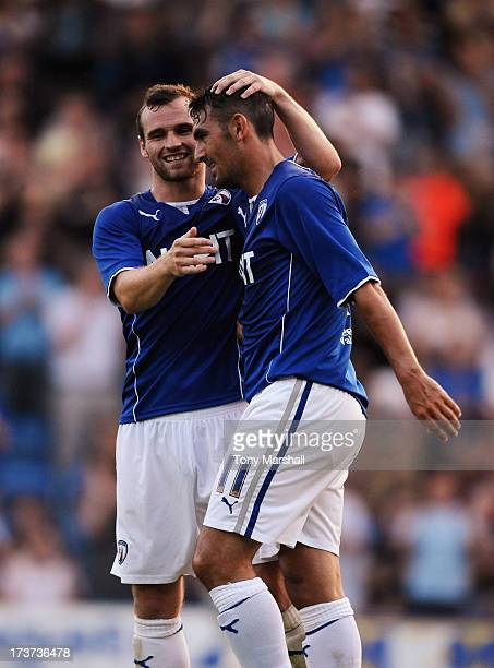 Gary Roberts of Chesterfield is congratulated by team mate Jimmy Ryan after he scored the equalising goal during the Pre Season Friendly match...