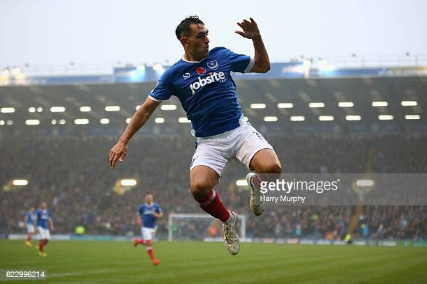 Gary Roberts of Portsmouth celebrates scoring the opening goal during the Sky Bet League Two match between Portsmouth and Mansfield Town at Fratton...
