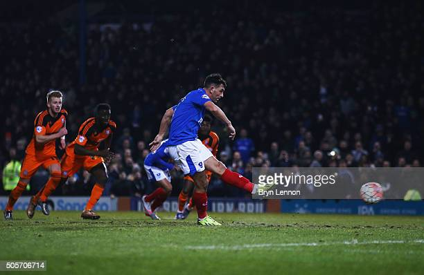 Gary Roberts of Portsmouth converts the penalty to score his team's first goal during the Emirates FA Cup Third Round Replay match between Portsmouth...