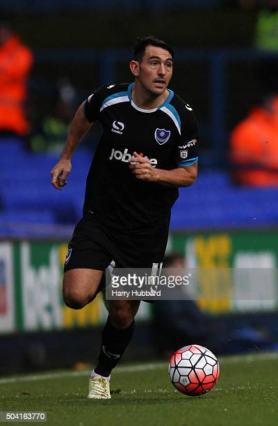 Gary Roberts of Portsmouth in action during the Emirates FA Cup Third Round match between Ipswich Town and Portsmouth at Portman Road on January 9...