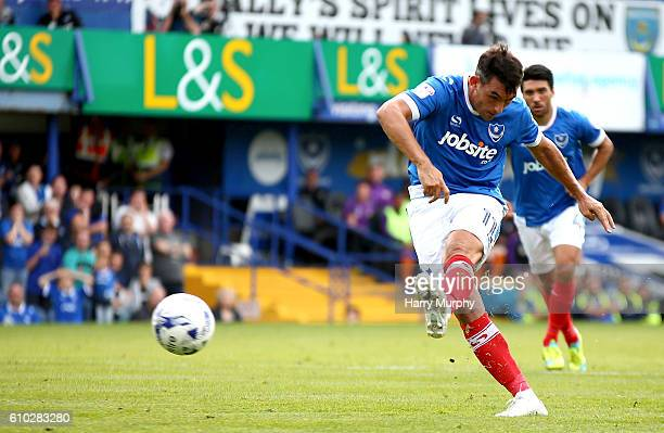 Gary Roberts of Portsmouth misses a penalty during the Sky Bet League Two match between Portsmouth and Barnet at Fratton Park on September 24 2016 in...