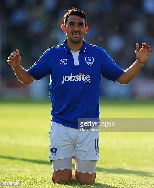 Gary Roberts of Portsmouth reacts during the Sky Bet League Two Play Offs Second Leg match between Plymouth Argyle and Portsmouth at Home Park on May...