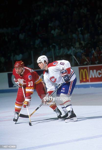 Gary Roberts of the Calgary Flames and Russ Courtnall of the Montreal Canadiens wait for the faceoff during the 1989 Stanley Cup Finals in May 1989...