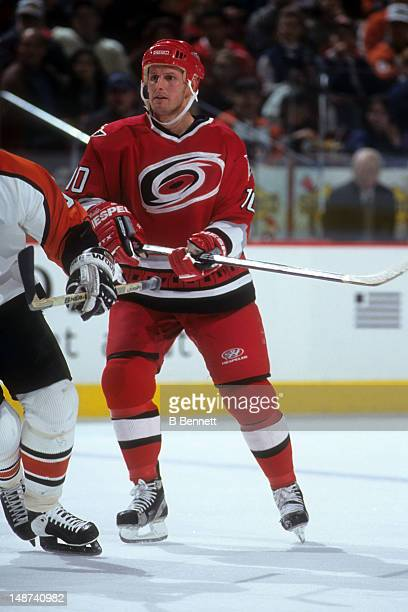 Gary Roberts of the Calgary Flames skates on the ice during an NHL game against the Philadelphia Flyers on January 9 1999 at the First Union Center...