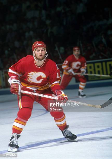 Gary Roberts of the Calgary Flames skates on the ice during Game 4 of the 1989 Stanley Cup Finals against the Montreal Canadiens on May 21 1989 at...