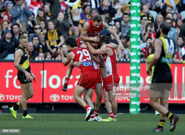 Gary Rohan of the Swans celebrates after scoring a goal during the round 13 AFL match between the Richmond Tigers and the Sydney Swans at Melbourne...