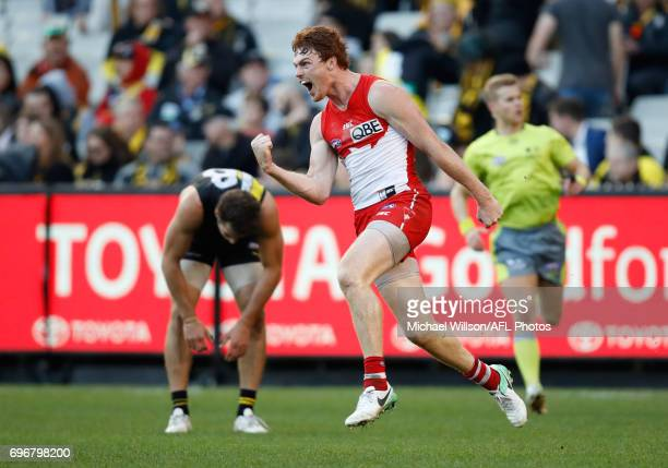 Gary Rohan of the Swans celebrates during the 2017 AFL round 13 match between the Richmond Tigers and the Sydney Swans at the Melbourne Cricket...
