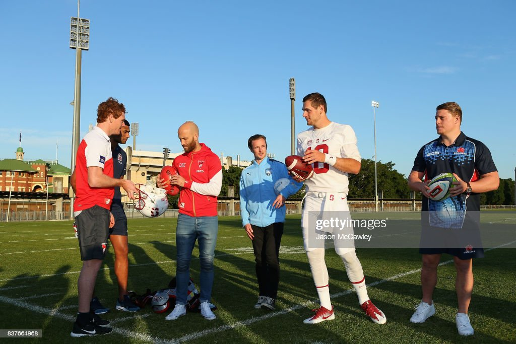Gary Rohan of the Sydney Swans, Daniel Tupou of the Roosters, Jarrad McVeigh of the Sydney Swans, Rhyan Grant of Sydney FC, Kaeller Chryst of Stanford University and Hugh Roach of the Waratahs during a US College Football Media Opportunity at Tramway Oval on August 23, 2017 in Sydney, Australia.