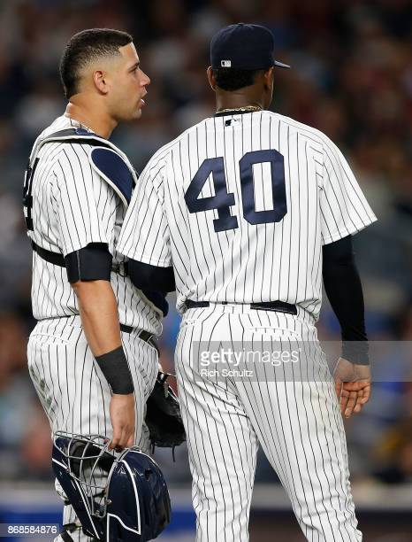 Gary Sanchez and Luis Severino of the New York Yankees in action during a game against the Boston Red Sox at Yankee Stadium on September 3 2017 in...