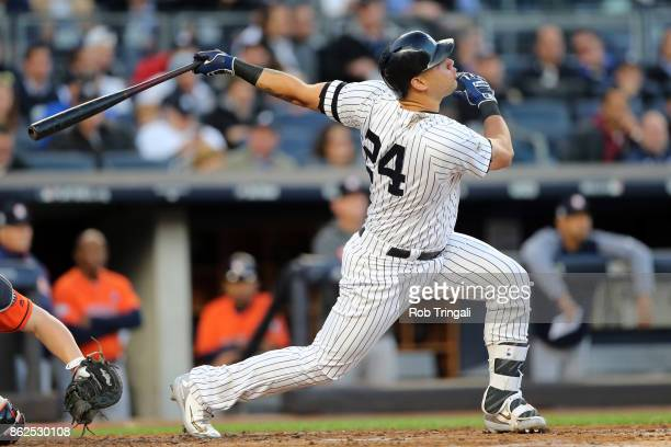 Gary Sanchez of the New York Yankees bats during Game 4 of the American League Championship Series against the Houston Astros at Yankee Stadium on...