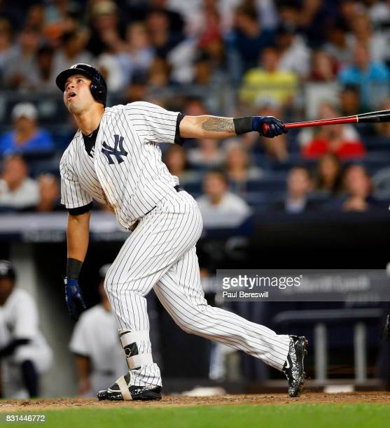 Gary Sanchez of the New York Yankees bats in an MLB baseball game against the Boston Red Sox on August 11 2017 at Yankee Stadium in the Bronx borough...