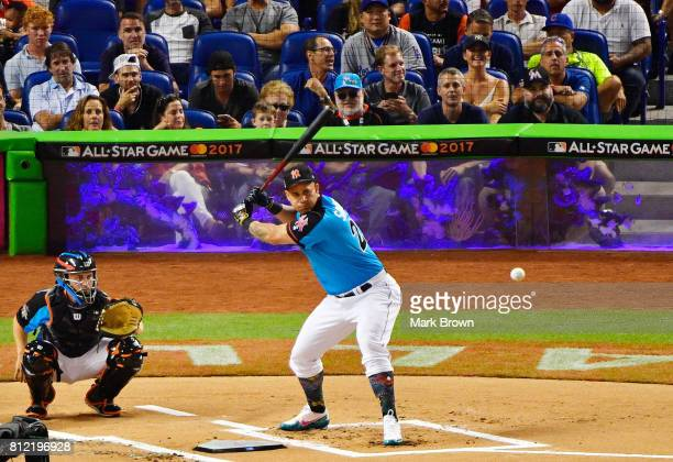 Gary Sanchez of the New York Yankees competes in the TMobile Home Run Derby at Marlins Park on July 10 2017 in Miami Florida