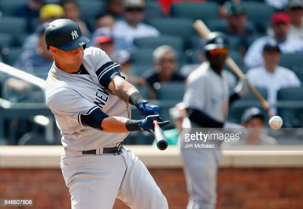 Gary Sanchez of the New York Yankees connects on a double in the fifth inning against the Tampa Bay Rays at Citi Field on September 13 2017 in the...