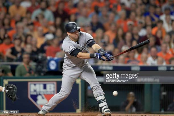 Gary Sanchez of the New York Yankees hits a single against Justin Verlander of the Houston Astros during the second inning n Game Six of the American...